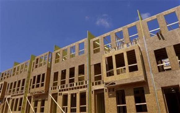New energy efficient townhomes under construction.